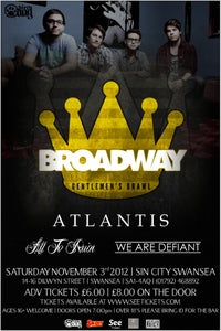 Image of 1 X TICKET: BROADWAY | SIN CITY SWANSEA | SATURDAY NOVEMBER 3RD 2012