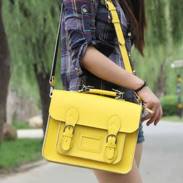 Image of Handmade Genuine Leather Satchel / Messenger Bag / Backpack - Yellow (s4)