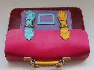 Image of Handmade Genuine Leather Satchel / Messenger Bag / Backpack - Multicolor (s9)
