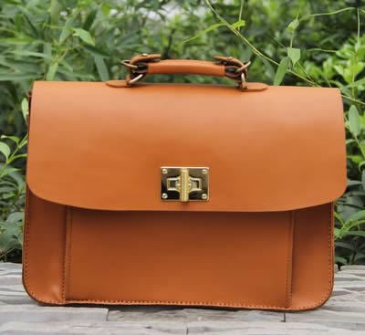 Image of Handmade Genuine Leather Women's Handbag Briefcase Messenger Bag in Brown (m26)
