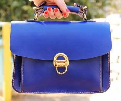 Image of VINTAGE CLASSIC BLUE - Handmade Genuine Leather Women's Small Handbag Purse Messenger Bag (m20)
