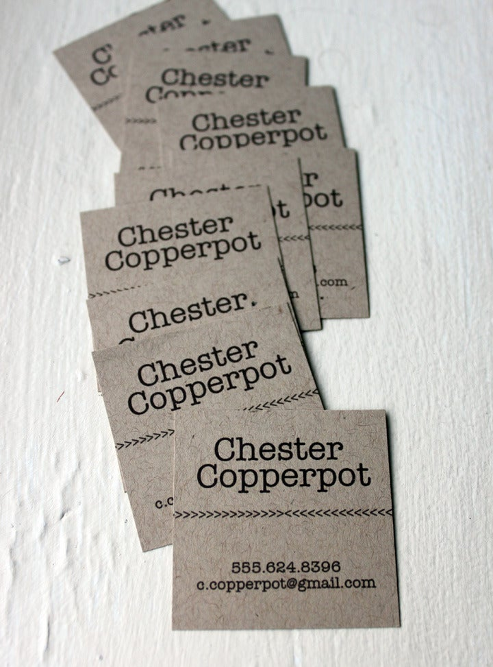 Image of  Simple Typewriter Calling cards on Kraft