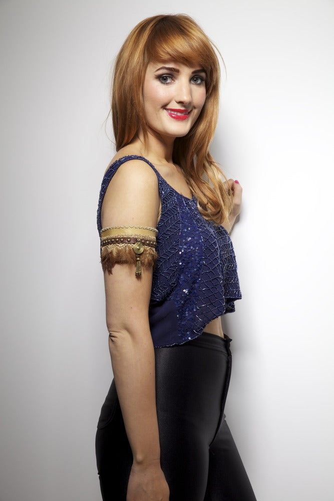 Image of Hand Embellished Navy Iona Crop Top