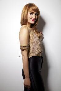 Image of Hand Embellished Beige Valentina Crop Top