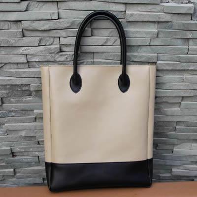 Image of Handmade Artisan Genuine Leather Women's Tote Handbag Satchel - Cream with Black (m25-2)