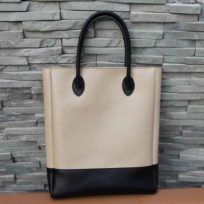 Image of Handmade Artisan Genuine Leather Women's Tote Handbag Satchel - Cream with Black (m25-2)