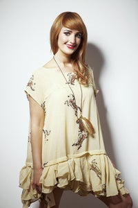 Image of Horse Print Ruffle Dress