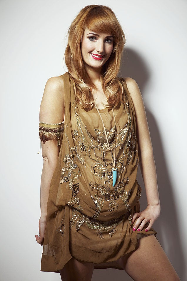 Image of Brown and Gold Hand Embellished Laura Dress