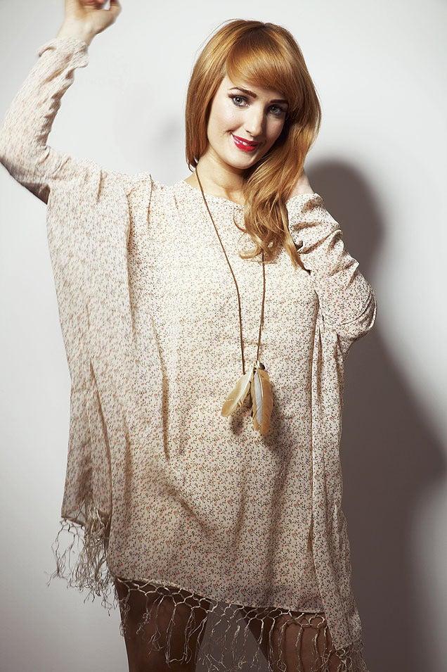 Image of Pink Ditzy Floral Mama Kay Long Sleeved Tassel Dress