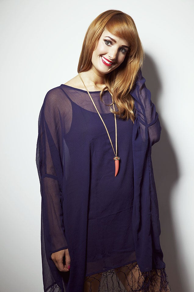 Image of Navy Long Sleeved Tassel Dress