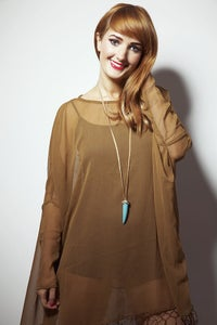 Image of Brown Long Sleeved Tassel Dress
