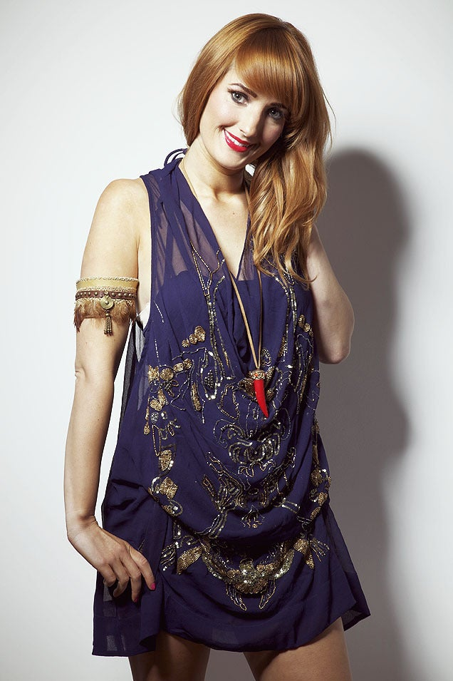 Image of Navy and Gold Hand Embellished Amy Dress