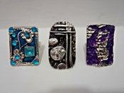 Image of Enamel Rectangle Design Silver Adjustable Ring - Turq/Purple/Black