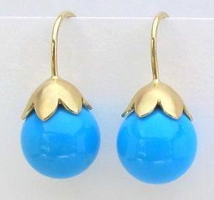 Image of Sleeping Beauty Turquoise Earrings 18k Morning Glory Pod 10MM