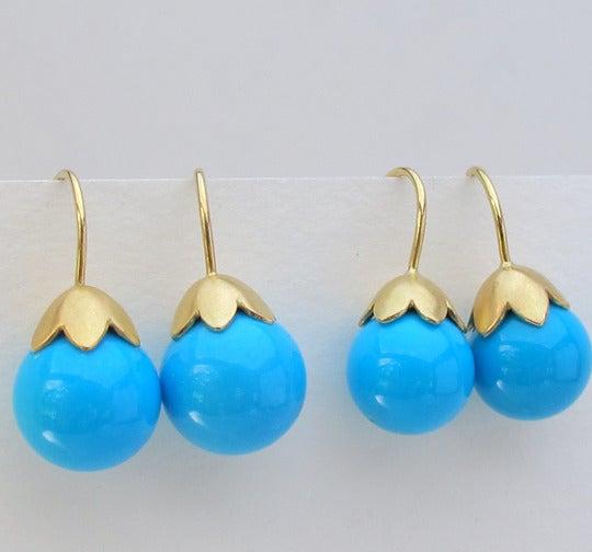 Image of Sleeping Beauty Turquoise Earrings 18k Morning Glory Pod 11MM