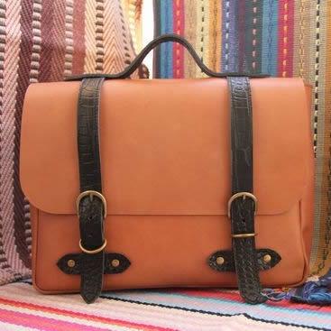 Image of Vintage Handmade Genuine Leather Satchel Briefcase Handbag Messenger Bag in Brown with Black (m43-2)