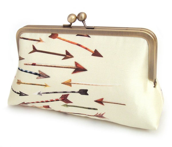 Arrows - A Red Ruby Rose original silk-lined clutch bag - Red Ruby Rose