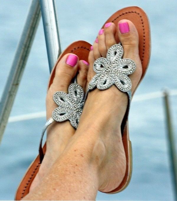 """Image of Aspiga Leather """"Bari"""" Sandal - Silver"""