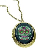 Image of Green Star Sugar Skull Locket