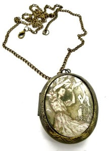 Image of Alice in Wonderland Old Falling Cards Locket