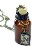 Image of Alice in Wonderland Drink Me bottle Tag Necklace
