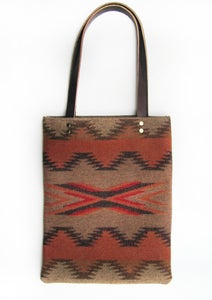 Image of Tan Chinle Southwestern Pendleton Wool Tote with Long Leather Straps