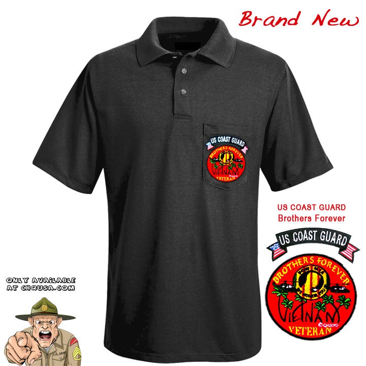 Image of MENS POLO W/BROTHERS FOREVER & COAST GUARD TAB- PSBP2/E