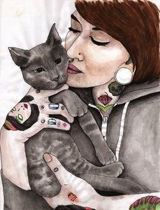 "Image of Original: ""Cats and Tatts"" Hand Drawn Illustration"