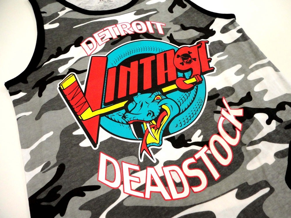 Image of Detroit Deadstock Vintage Vipers Logo Flip City Camo Tank Top Shirt