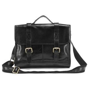"""Image of Vintage Handmade Genuine Leather Briefcase Messenger 14"""" Laptop / 13"""" MacBook Bag in Black (n76)"""