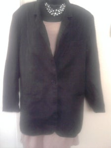 Image of Classic Black Linen Blazer sz 16