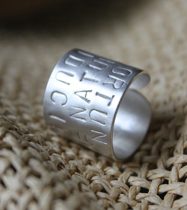 """Image of Sterling Silver """"Italian Words"""" Ring"""