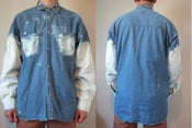 Image of Oversized sleeves and pocket bleached studded denim shirt - Unisex