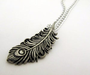Image of Classic Silver Peacock Necklace