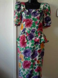 Image of Oscar De La Renta Vintage Silk Floral Peplum Dress Sz 4 FREE SHIPPING