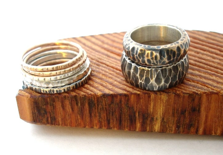 Image of Hammered Bronze Ring with Silver Liner