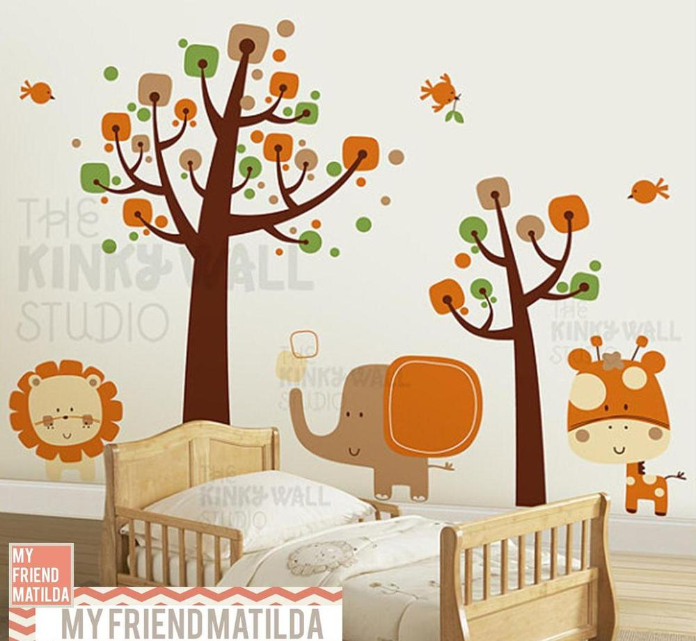 baby  nursery wall decals — removable wall decals  stickers by  - children wall decal wall sticker tree decal safari animals  kk