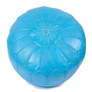 Image of Moroccan Leather Pouffe (Bright Blue)