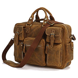 Image of Handmade Vintage Leather Business Travel Bag, Messenger, Duffle Bag, Weekend Bag, Briefcase #n62-2