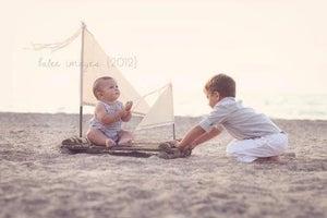 "Image of TODDLER Woodsy Wonders  ""ORIGINAL"" Huck Finn / Tom Sawyer Rustic Raft with Muslin Sails Photo Prop"