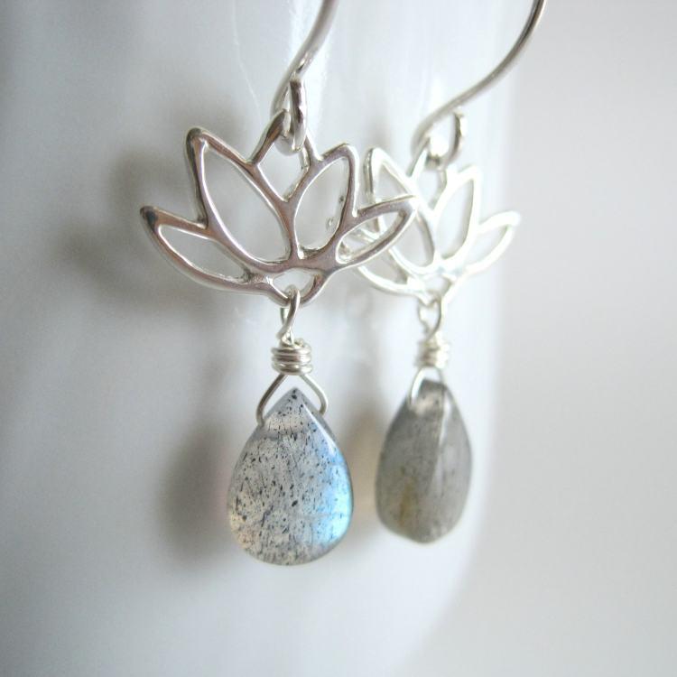 Image of Lotus Earrings Sterling Silver