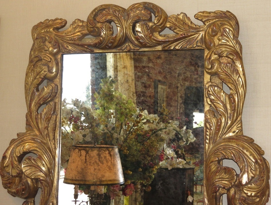 Image of Spectacular Dramatic Baroque Hand Carved Designer Giltwood Mirror - SOLD!!!