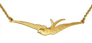 Image of Thin swallow gold necklace
