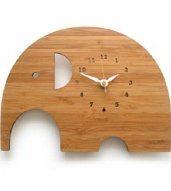 Image of Wooden Elephant Clock