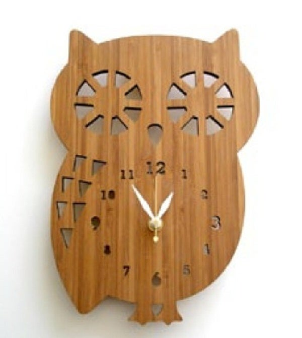 Image of Wooden Buddy Owl Clock