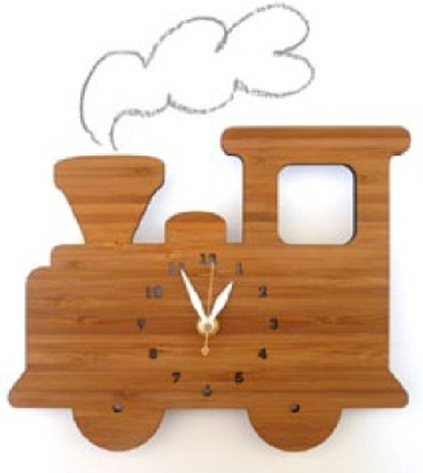 Image of Wooden Train Clock