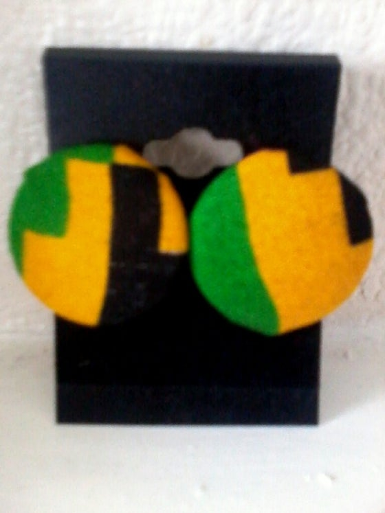 Image of Vekras yellow, green and black Kente handmade stud earrings