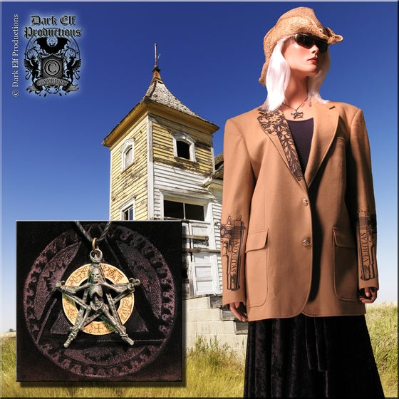 "Image of ""#13"" Custom Printed Wool Jacket & Occult Skull Necklace Set"