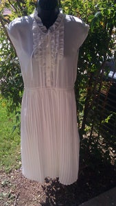 Image of Vintage 50's Ivory Ruffle Swing Dress Sz Medium or Small
