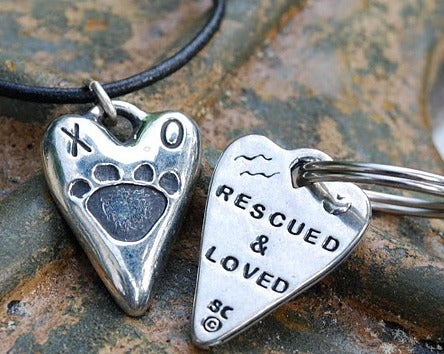"""Image of For You and Your DOG!  """"Rescued & Loved"""" Pewter charm!"""